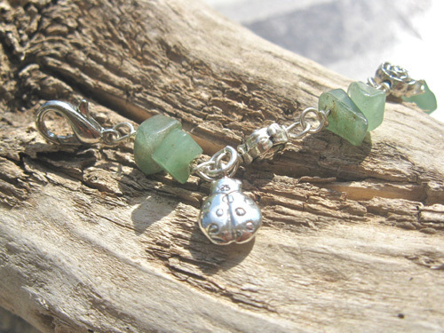 Aventurine lucky charm bracelet ft Ladybird