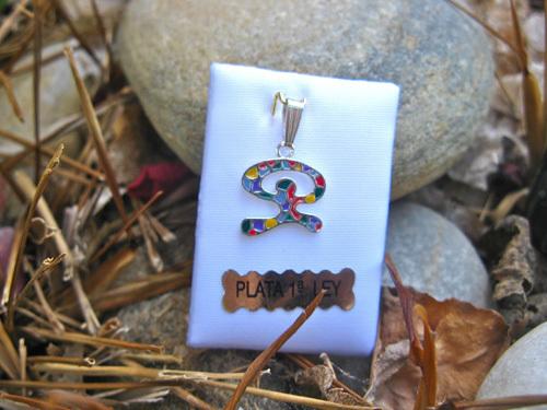 Indalo  pendant ~ enamel + silver, dancing small