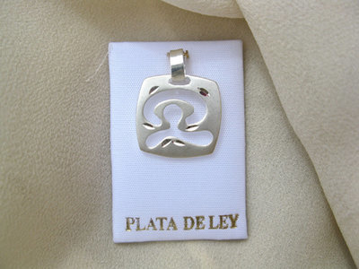 Indalo dog tag ~ sterling silver, square, dancing