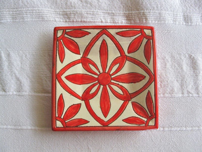 Spanish plate ~ daisy, square