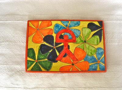 Spanish ceramic oblong plate ~ Indalo, otoño