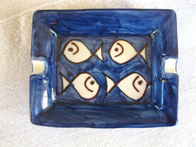 Ceramic ashtray / dish ~ fishes
