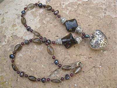 Smokey Quartz, Pearl + Garnet necklace