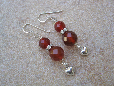 Carnelian + Heart earrings
