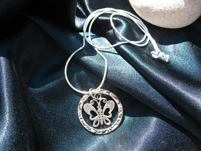 Butterfly charm necklace ~ Gatekeeper, circular