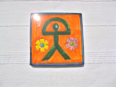 Spanish Indalo ceramic tile / coaster ~ mango