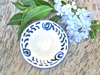 Spanish ceramic bowl ~ blue swirls