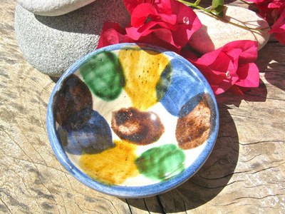 Spanish ceramic bowl ~ cactus leaf
