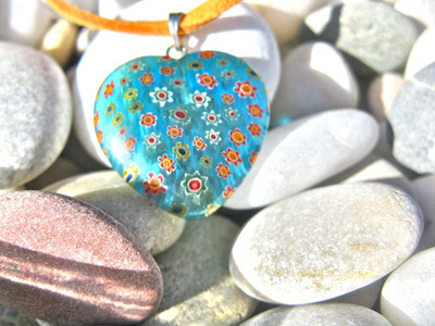 Heart necklace ~ aqua glow