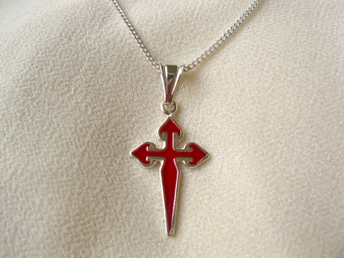 Cross of St James necklace ~ silver, red