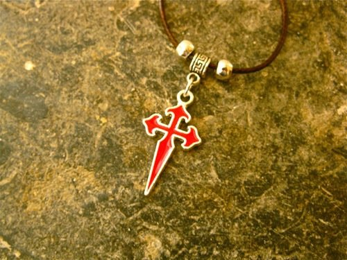 St James cross necklace for safekeeping ~ red metal