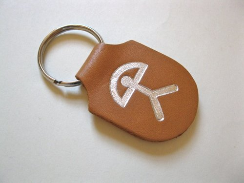 Indalo keyring  ~ Spanish leather, silver embossed