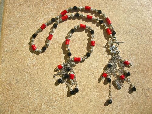 Black Agate & Coral jewellery set ft OWL