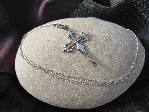 Cross of St James / Cruz de Santiago necklace - silver