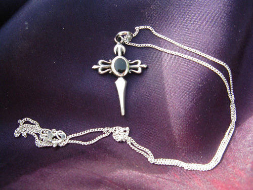 Cross of St James necklace ~ sterling silver and jet