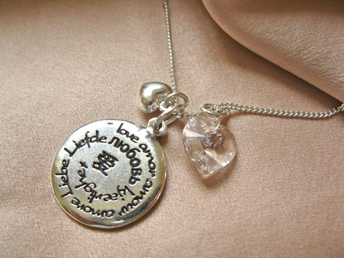 Love necklace: Amor, Amour, Liebe ~ 3-part, silver