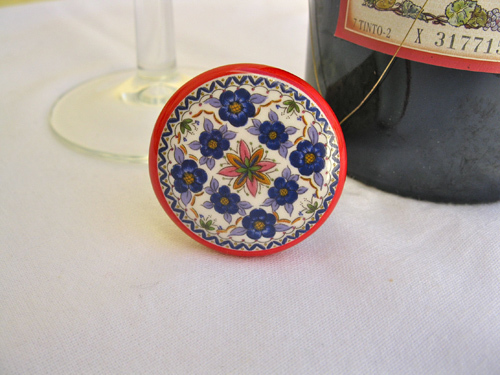 Spanish ceramic wine stoppers ~ floral series 2
