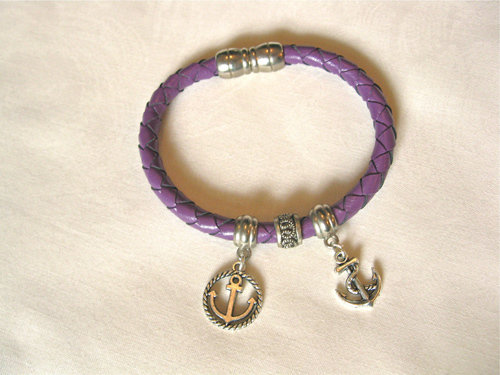 Leather bracelet ~ ANCHOR