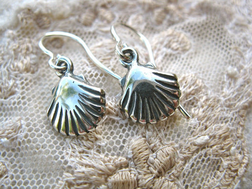 Santiago scallop shell earrings ~ for hope and safe travels