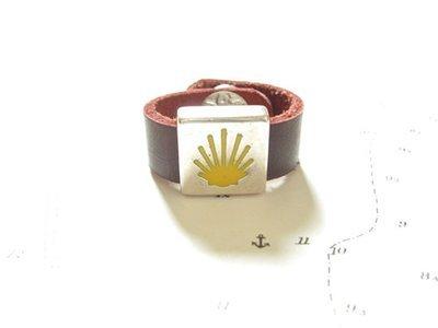 Camino de Santiago symbols ring - leather 10mm