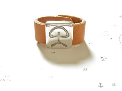 Indalo symbol ring - leather 13mm
