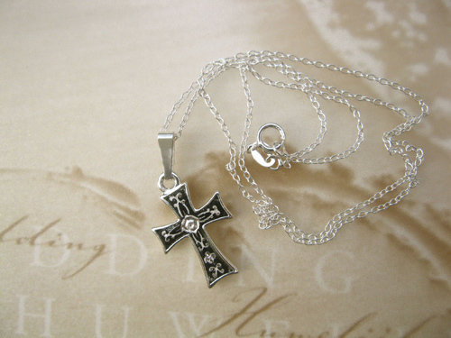 Damascene cross necklace ~ small silver