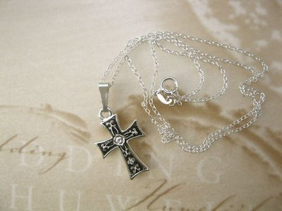 Damascene cross necklace ~ small silver