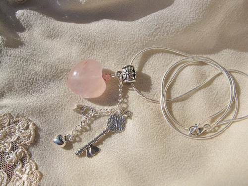 Key to my heart necklace ~ rose quartz