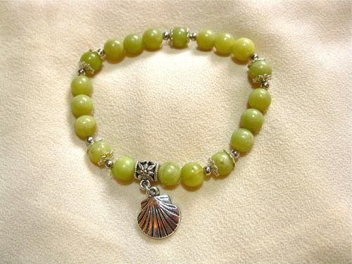 Camino de Santiago travel bracelet, jade