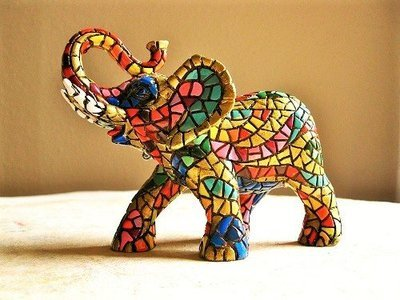 Spanish ceramic lucky Elephant figurine ~ Rafael