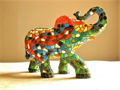 Spanish ceramic Elephant figurine for luck ~ Edgar