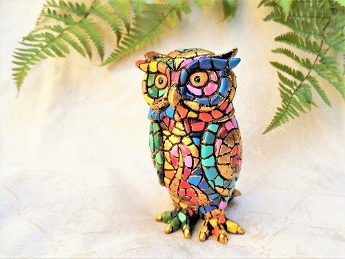 Spanish ceramic guardian Owl figurine, golden ~ Rodrigo