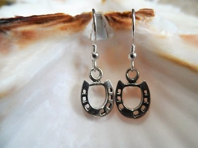 Lucky horseshoe earrings ~ silver