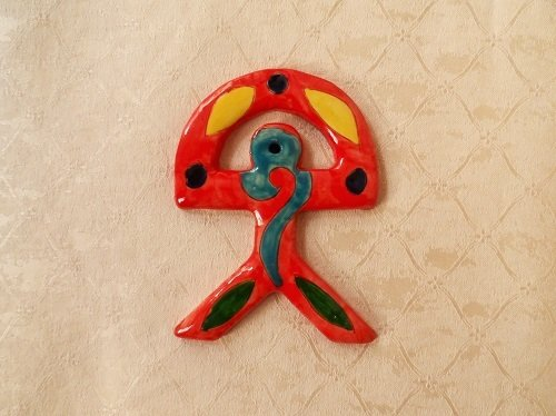 Spanish ceramic Indalo talisman ~ RED