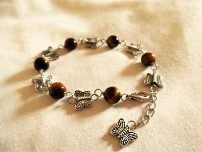 Butterfly charm bracelet ~ Tigers Eye