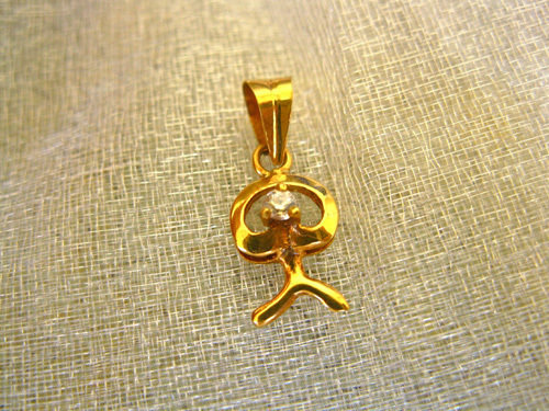 Indalo pendant ~ tiny sparkle, modern 18ct gold