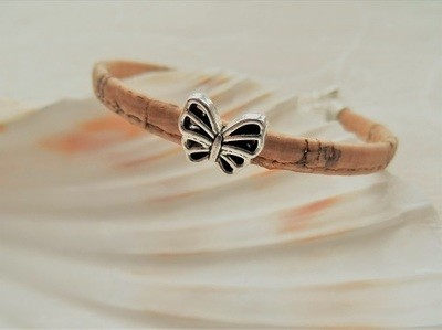 Butterfly charm bracelet ~ natural cork with silver