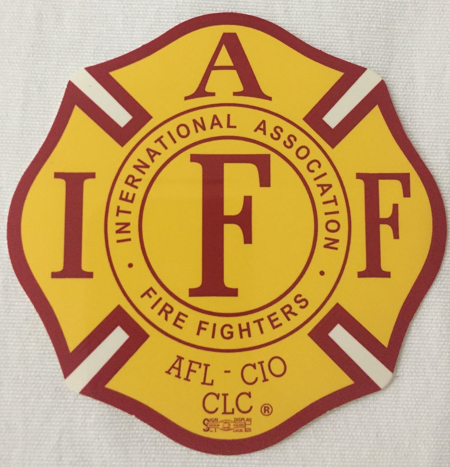 Vehicle Sticker IAFF Yellow Red