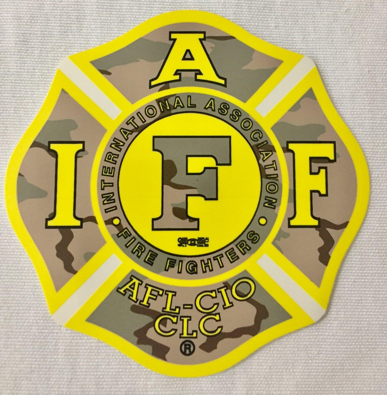 Vehicle Sticker IAFF Yellow Camo