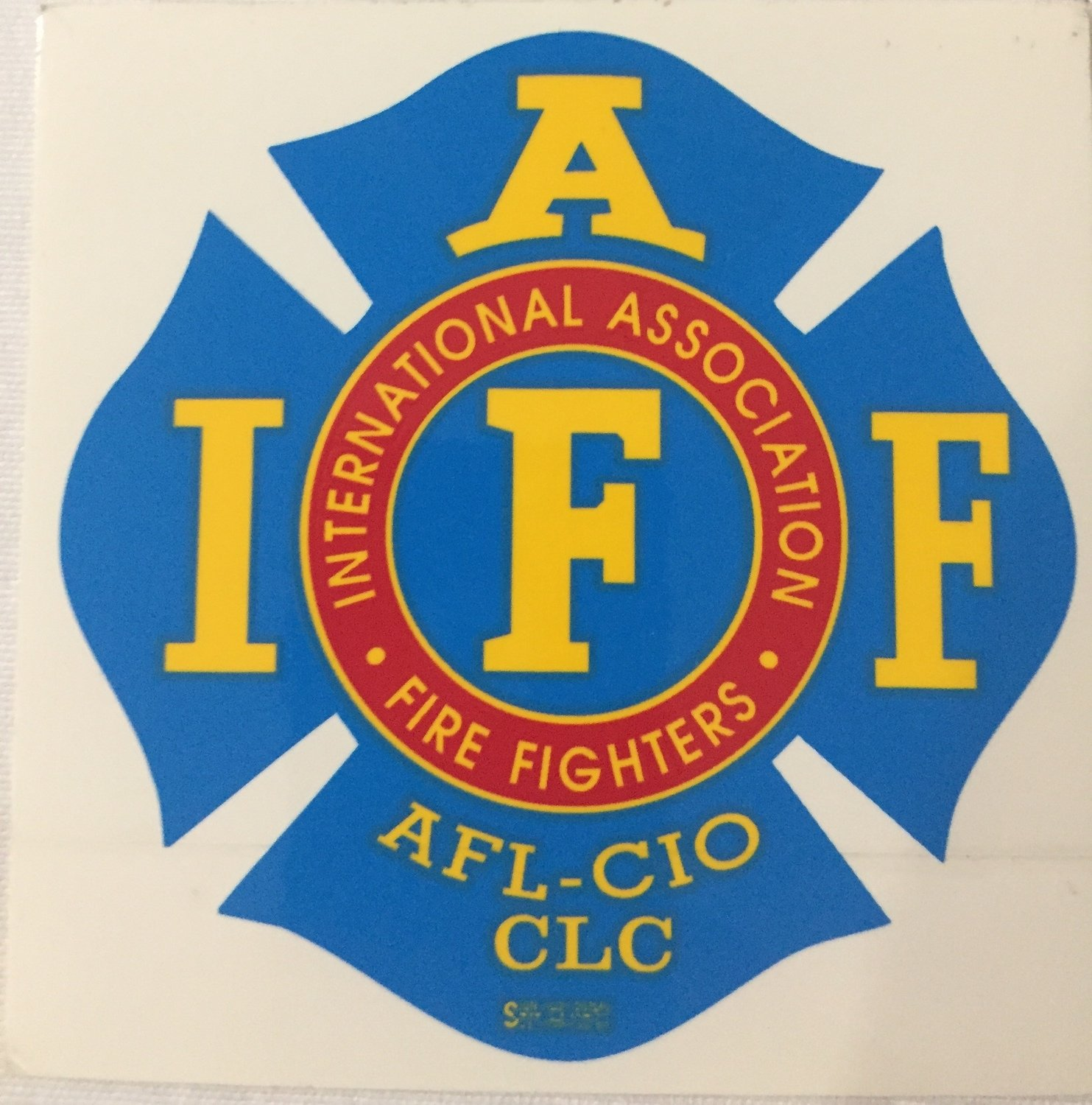 Vehicle Sticker IAFF Blue Red Yellow
