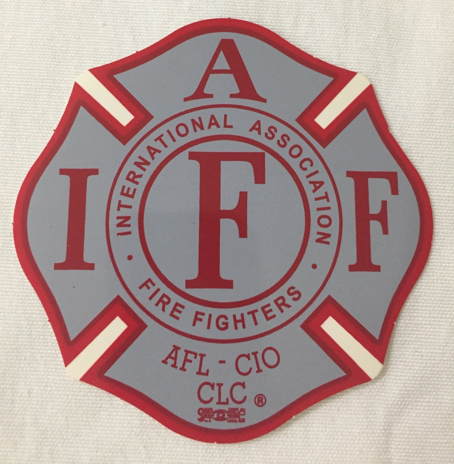 Vehicle Sticker IAFF Grey Red