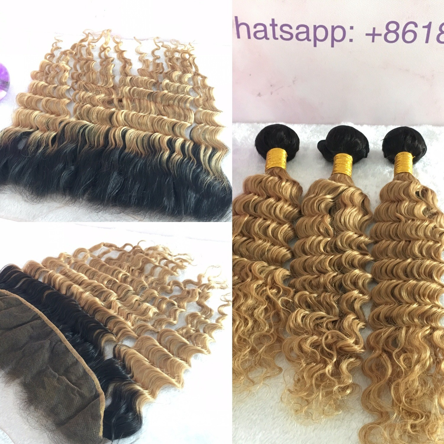 T1B/27 Honey Blonde Human Hair 3 Bundles with Frontal Deep Wave All virgin hair