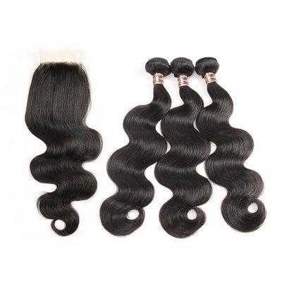 4 PCS/LOT Bundles Body Wave Unprocessed Human Hair Extension with Lace Closure