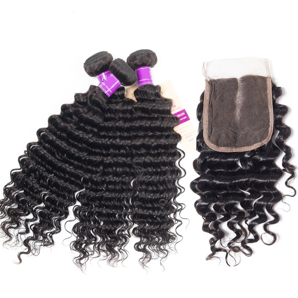 4 PCS/LOT Bundles Deep Wave Unprocessed Human Hair Extension with Lace Closure
