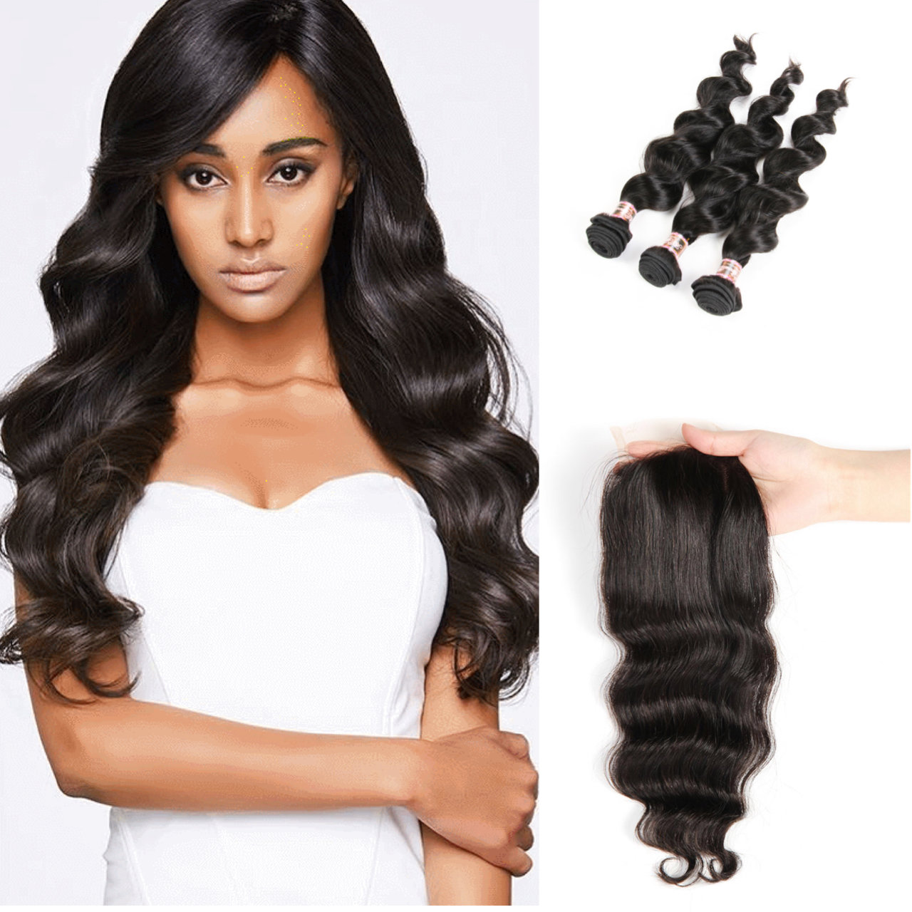 4 PCS/LOT Bundles Loose Body Wave Unprocessed Human Hair Extension with Lace Closure