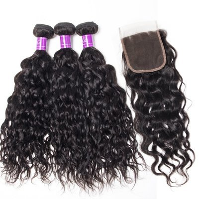 4 PCS/LOT Bundles Natural Wave Unprocessed Human Hair Extension with Lace Closure