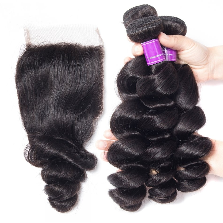 4 PCS/LOT Bundles Loose Wave Unprocessed Human Hair Extension with Lace Closure
