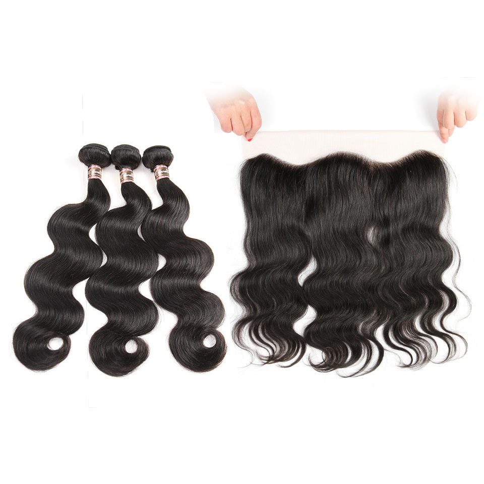 4 PCS/LOT Ear to Ear Lace Frontal Closure With 3 Bundles Virgin Human Hair Weaves Closures body wave