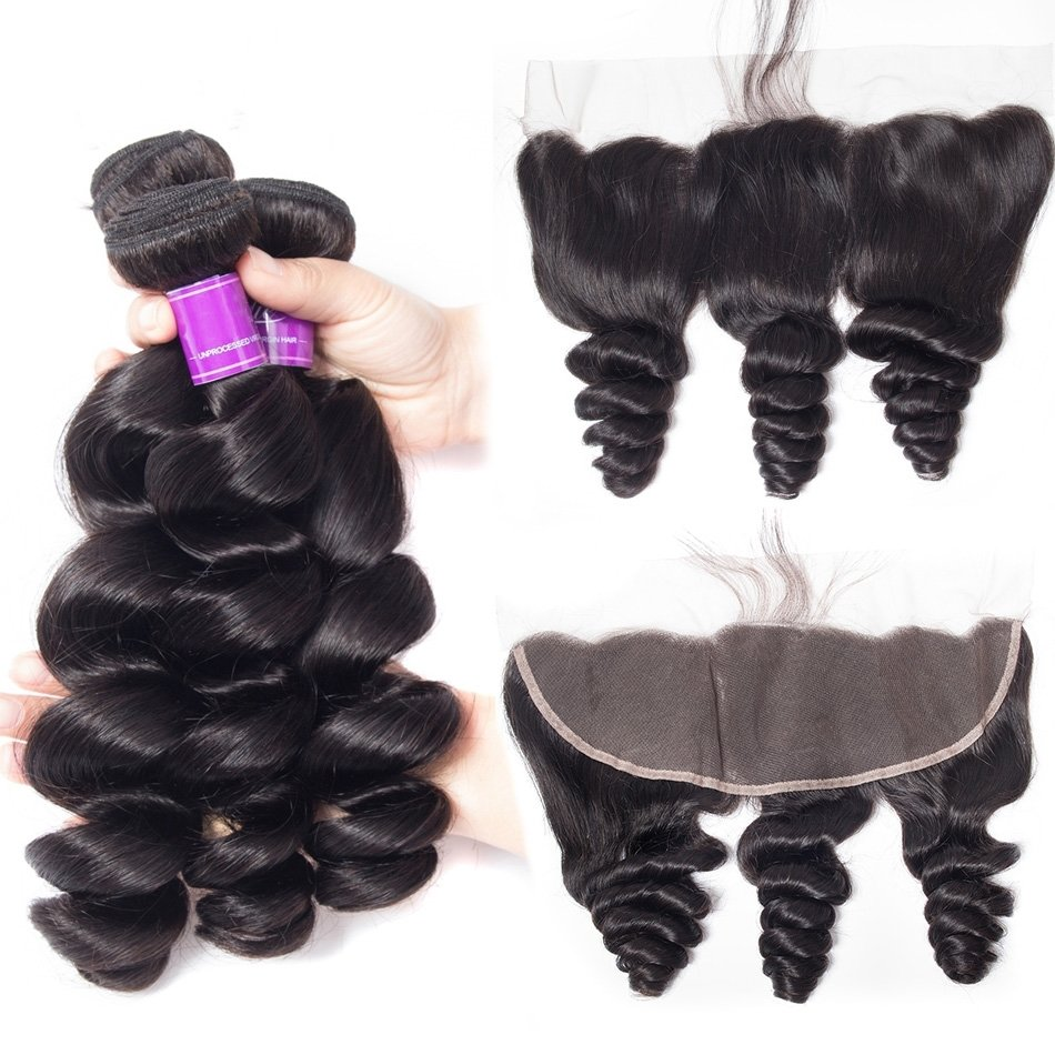 4 PCS/LOT Best Loose Wave Human Hair For Black Women Loose Curly Wave Lace Frontal 13*4 With Baby Hair