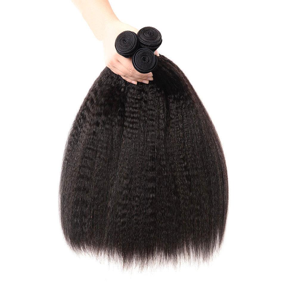 3PCS afro Kinky Straight Wave Human Virgin Hair Bundles